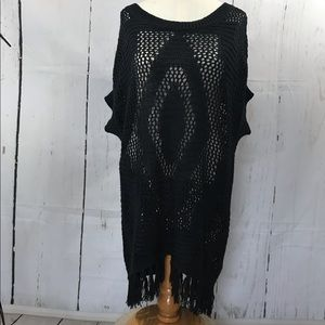 Poof black crochet lace coverup tunic